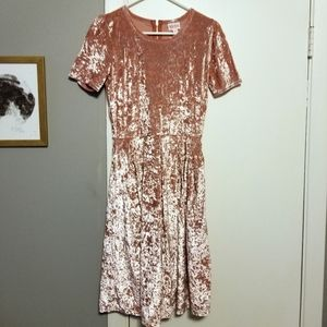 Lularoe Amelia Dress, Pink Crushed Velvet